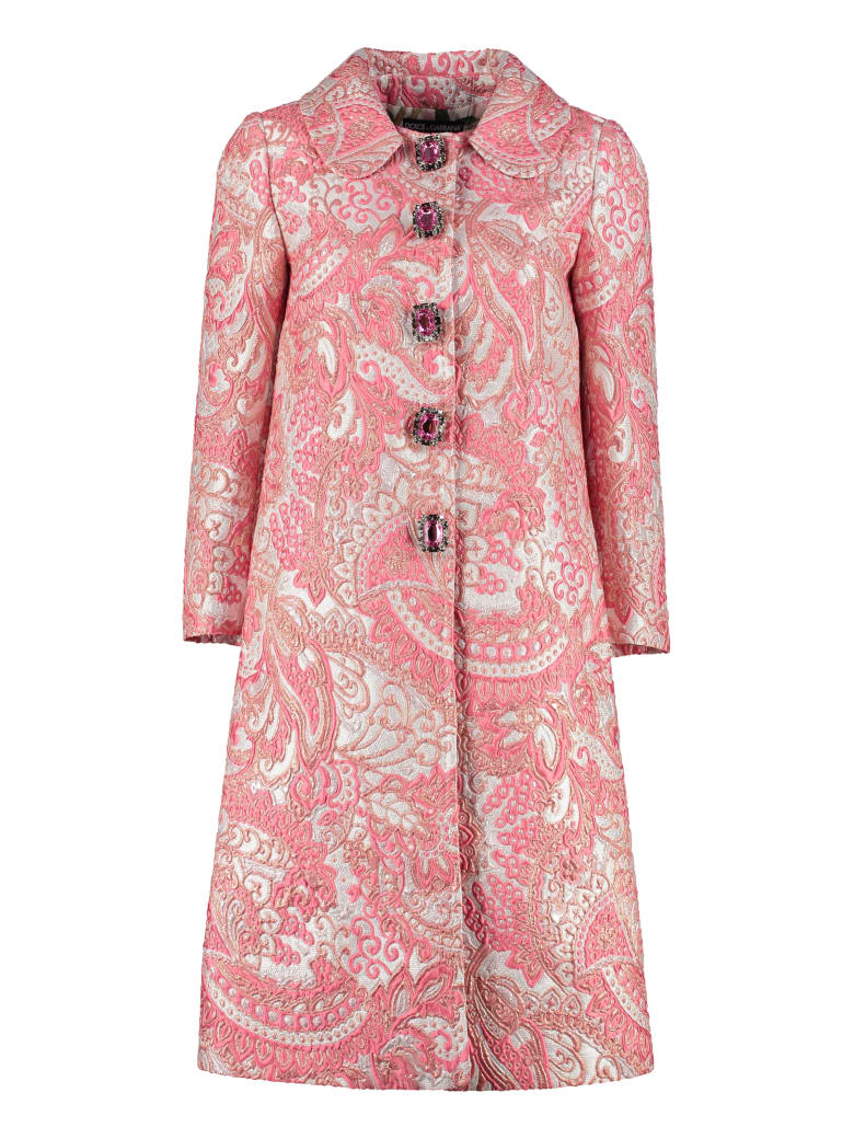 Dolce & Gabbana Lamé Jacquard Coat With Embellished Buttons - Pink