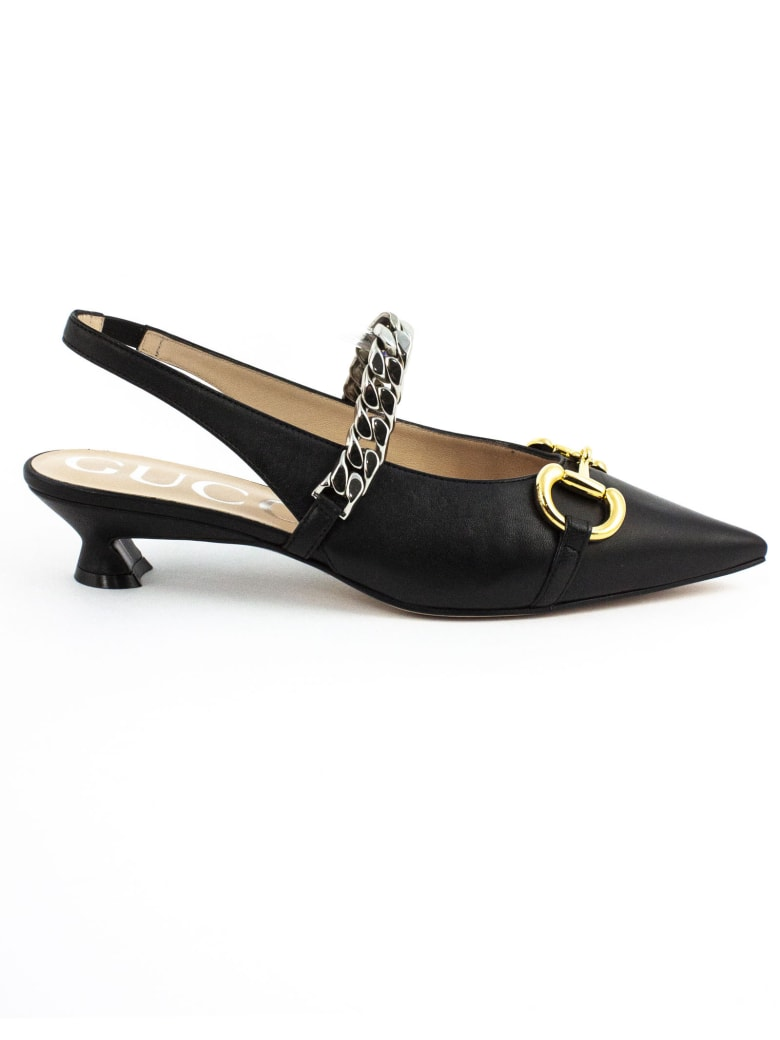 Gucci Black Leather Pump - Nero