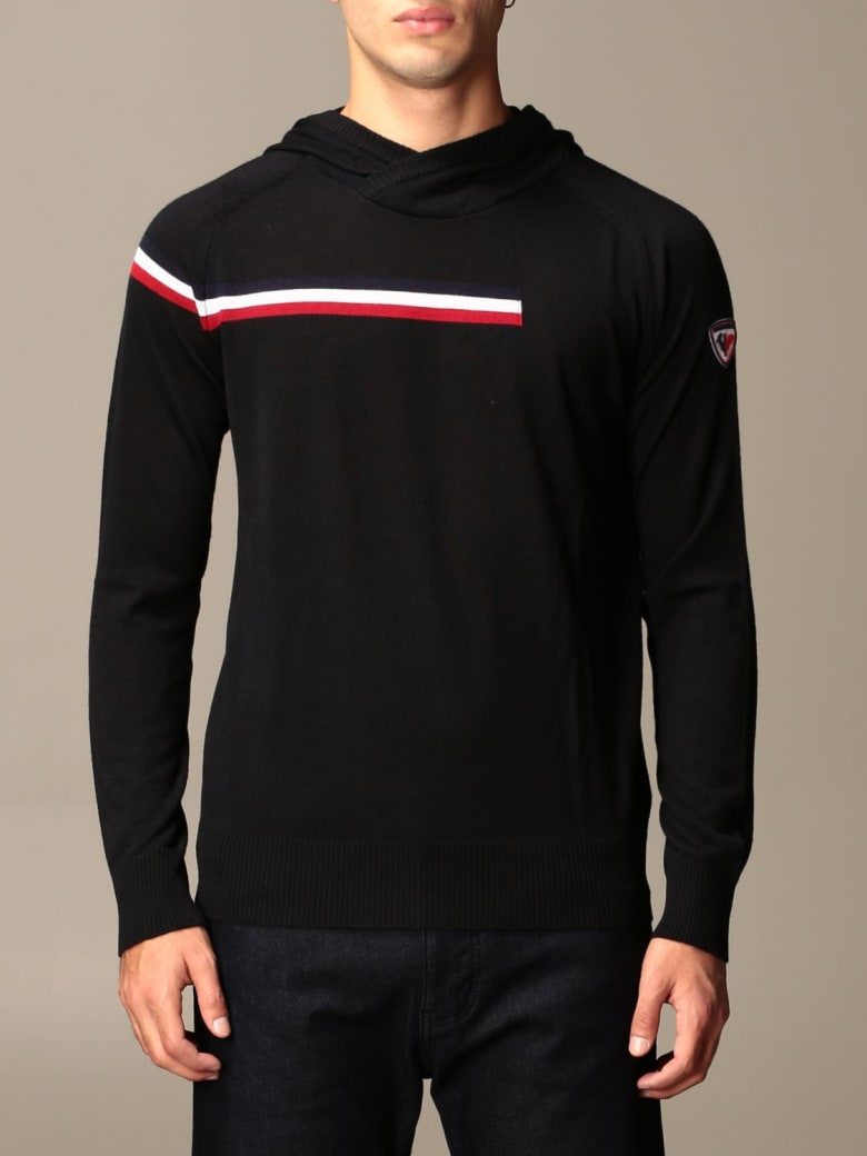 Rossignol Sweater Rossignol Hooded Sweater With Striped Band - Black