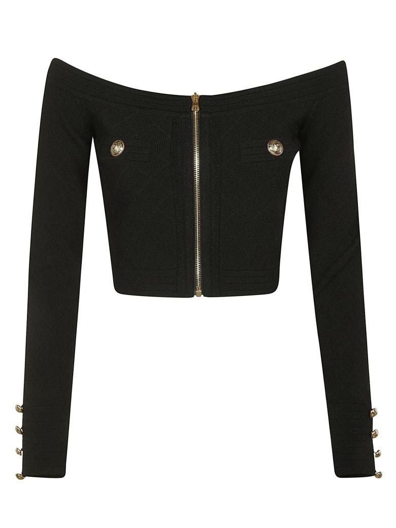 Balmain Zip Embellished Cropped Cardigan - Black