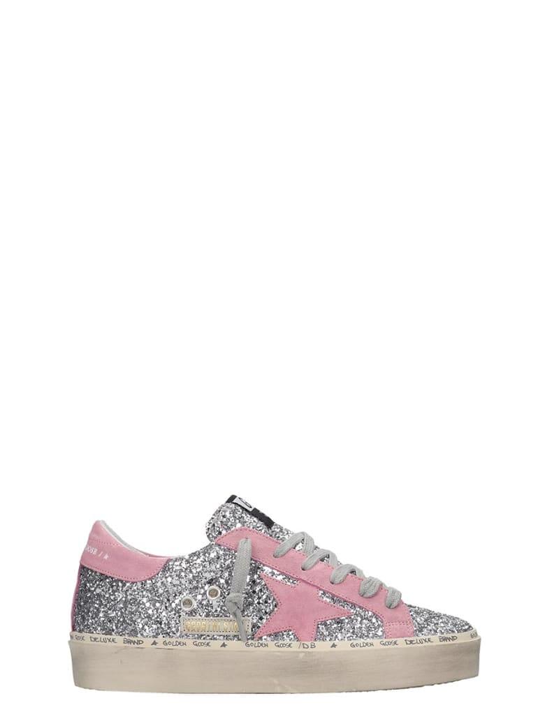 Golden Goose Hi Star Sneakers In Silver Glitter - silver