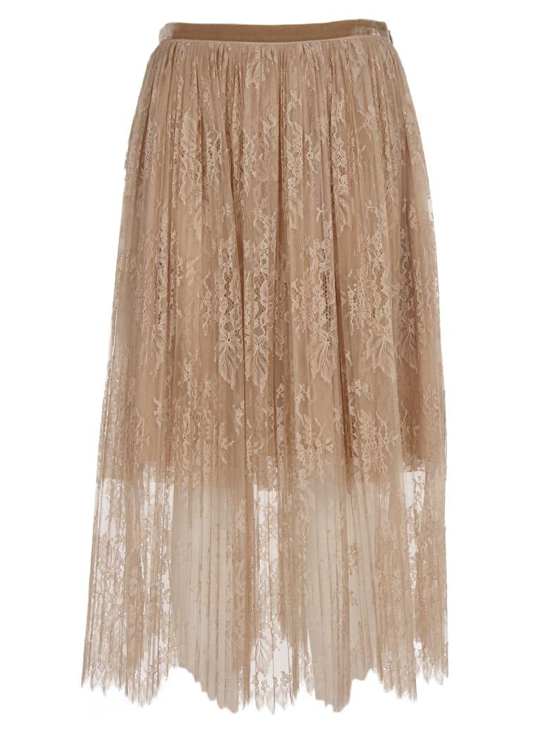Vivetta Pink Lace And Plissè Midi Skirt - Beige