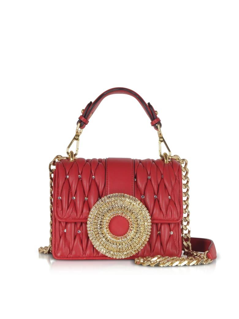 Gedebe Gio Small Nappa Leather & Crystal Handbag - Red