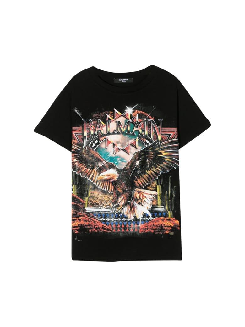 Balmain Kids Eagle Print T-shirt - Black