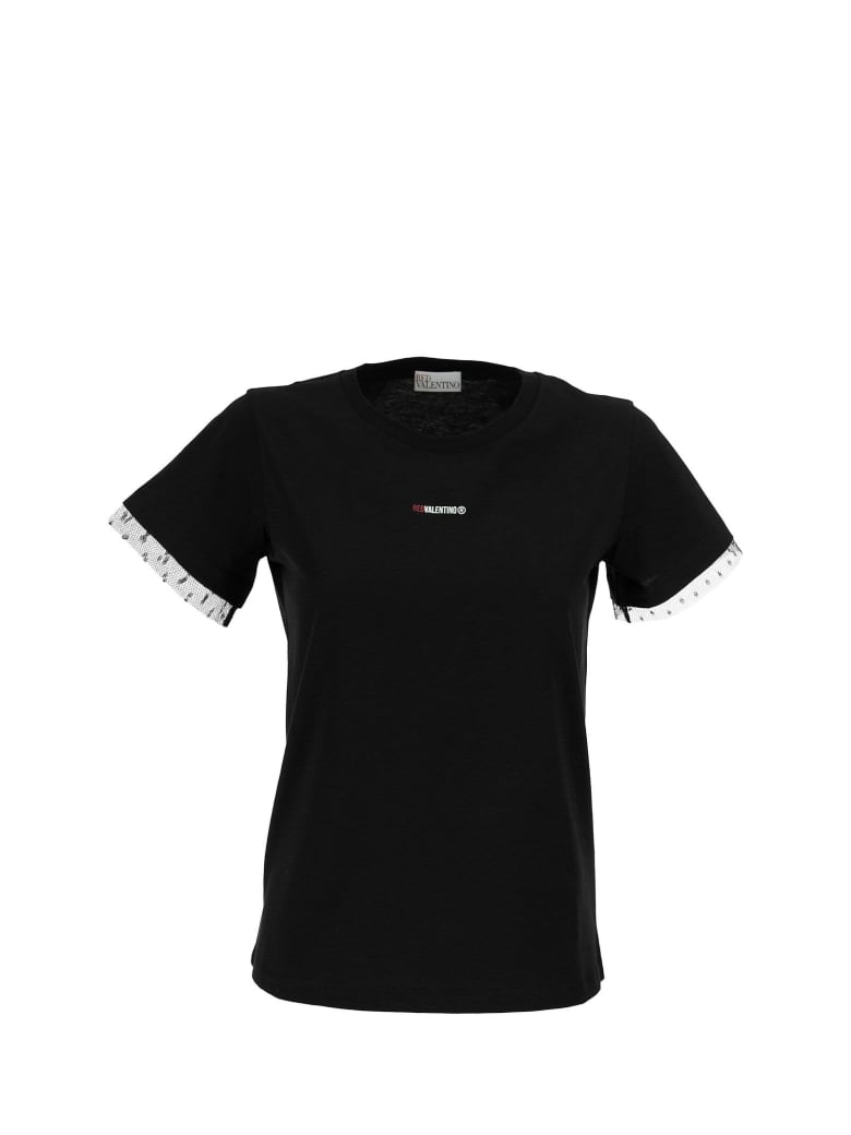 RED Valentino Logo Printed T-shirt Black - Black