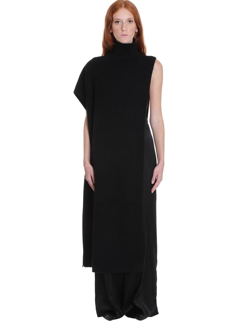 Jil Sander Cape Dress In Black Wool - black