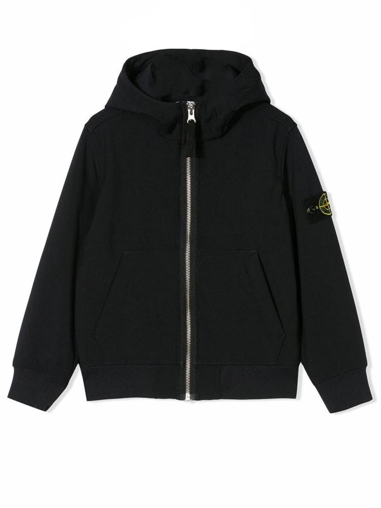 Stone Island Navy Logo Hooded Jacket - Blu