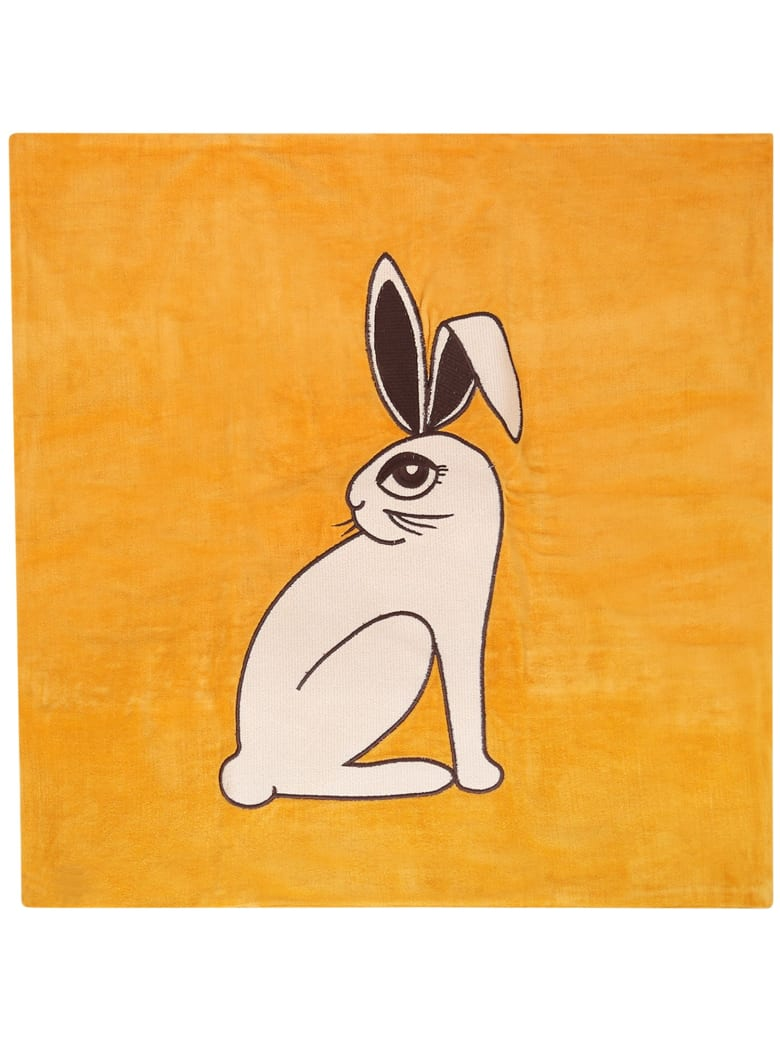 Mini Rodini Ocher Cushion Cover With Rabbit - Orange