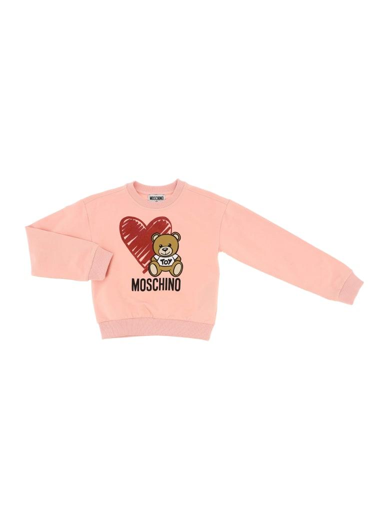 Moschino Felpa Girocollo Bear Heart - Rosa