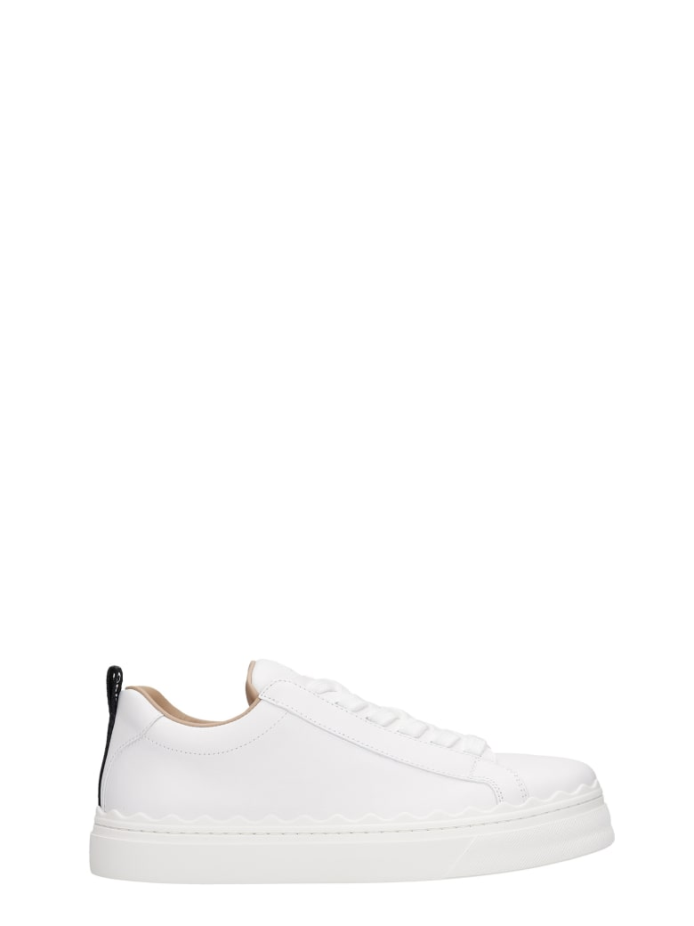 Chloé Lauren Sneakers In White Leather - Bianco