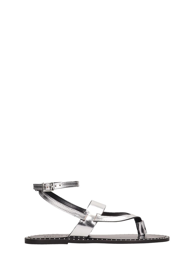 Rebecca Minkoff Silver Leather Alma Sandals - silver