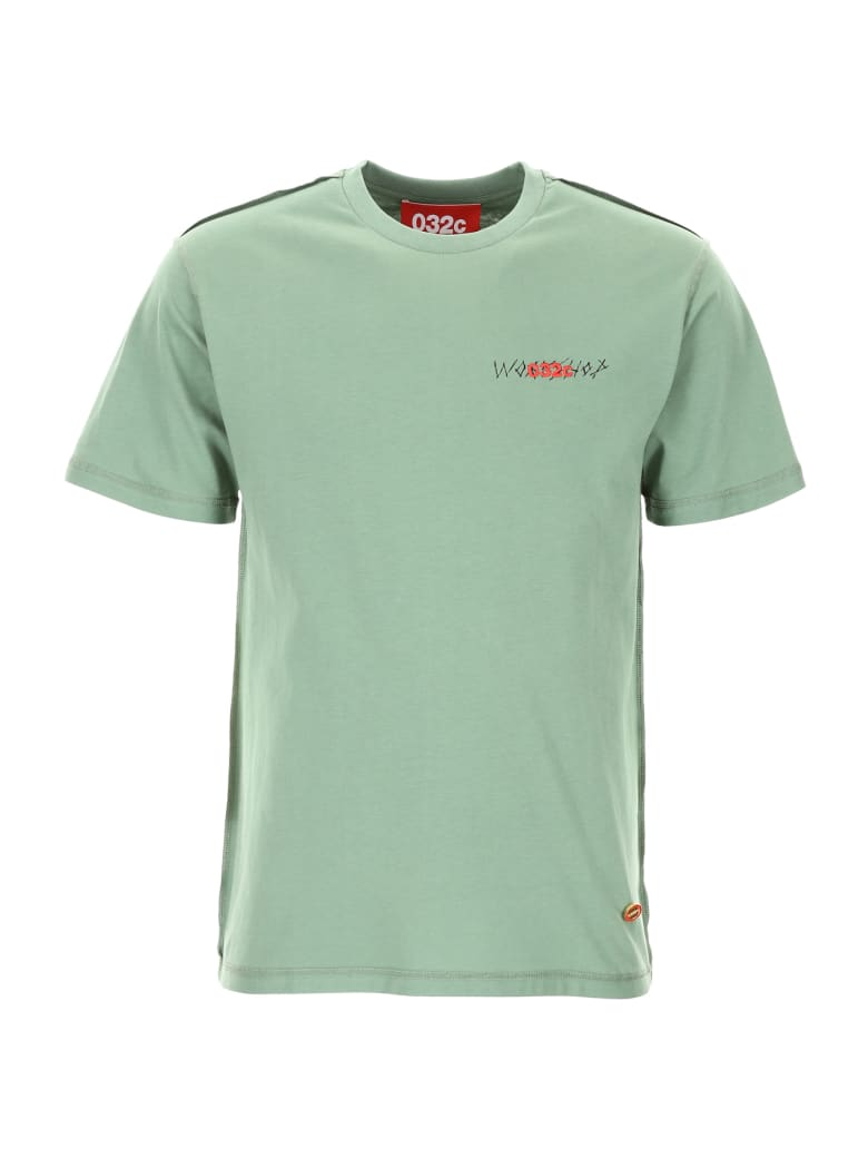 032c T-shirt With Print And Embroidery - WASHED HUNTERS GREEN (Green)