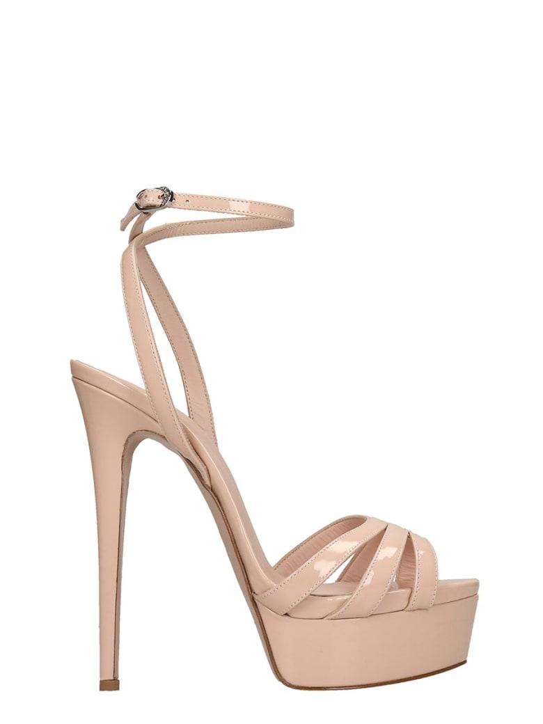 Le Silla Sandals In Powder Patent Leather - powder