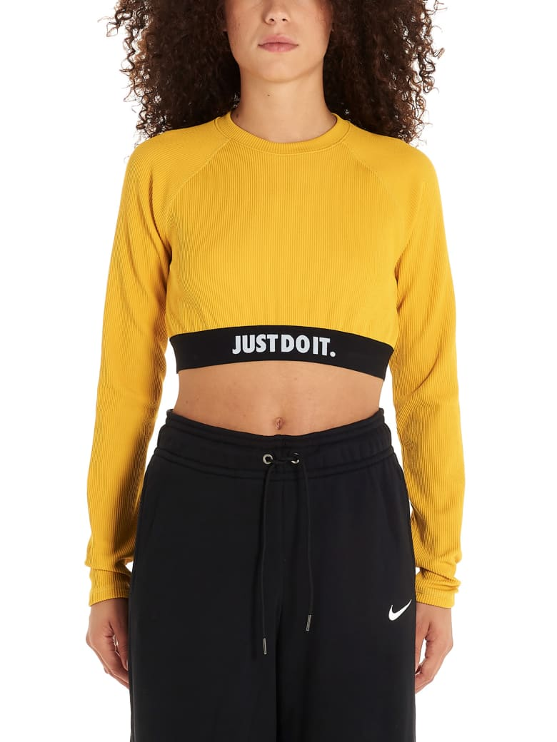 Nike 'crop Jdi Rib' Top - Giallo