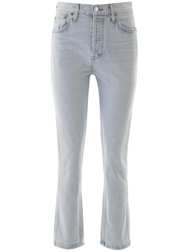 RE/DONE Cigarette Rigid Jeans - AGED LIGHT (Blue)