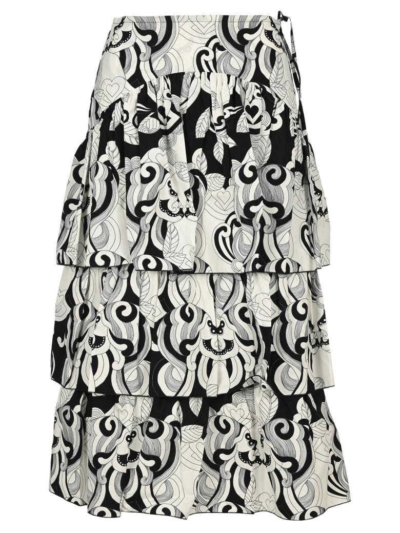 See by Chloé See By Chloe' Graphic Print Midi Skirt - BLACK WHITE