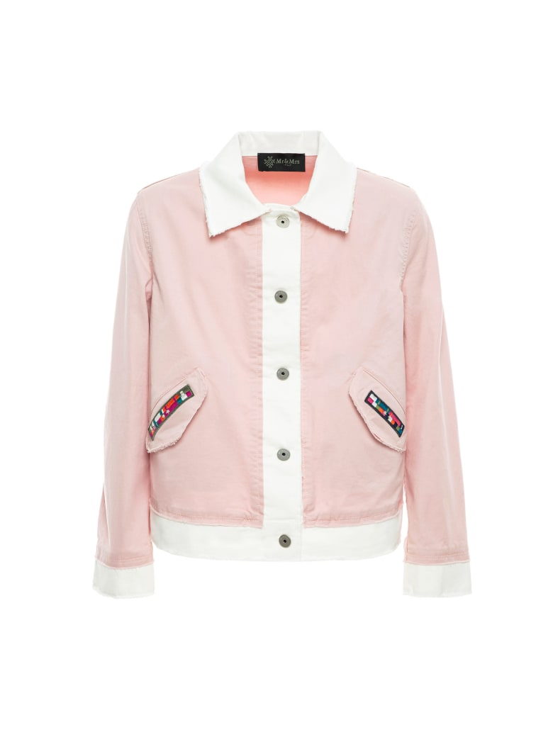 Mr & Mrs Italy Light Cotton Jacket For Woman - POWDER PINK/WHITE
