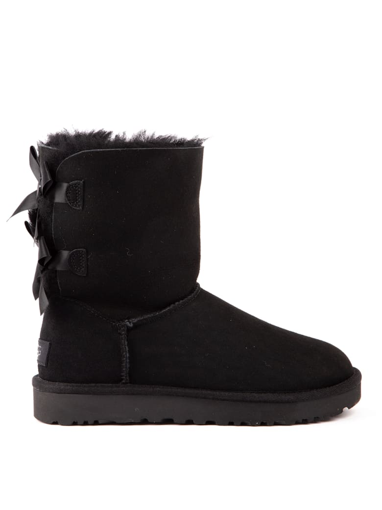UGG Black Bailey Bow Suede Ankle Boots - Black