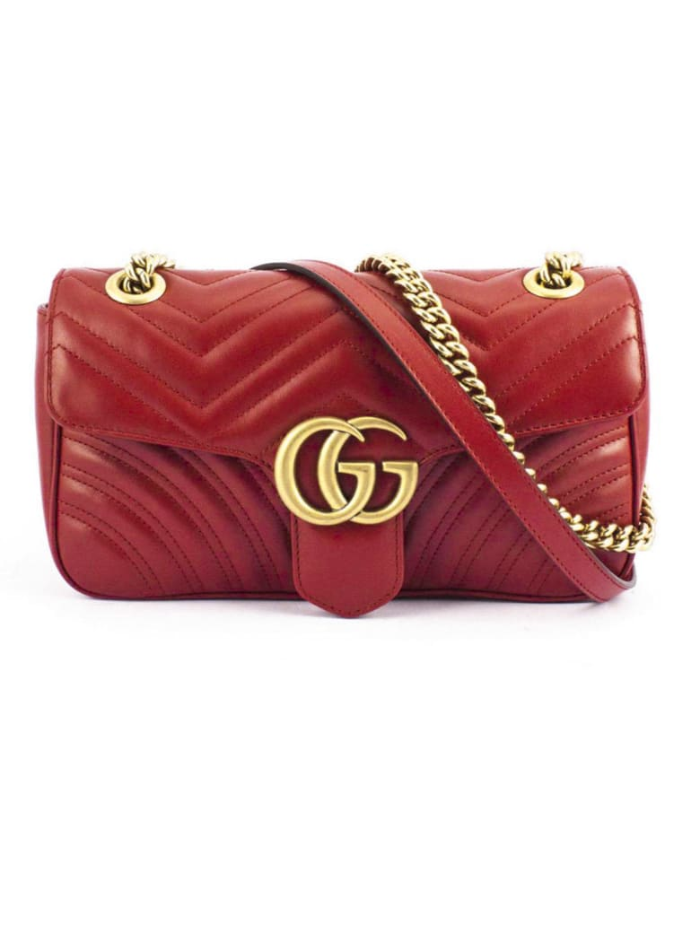 Gucci Gg Marmont Red Matelassè Leather - Rosso