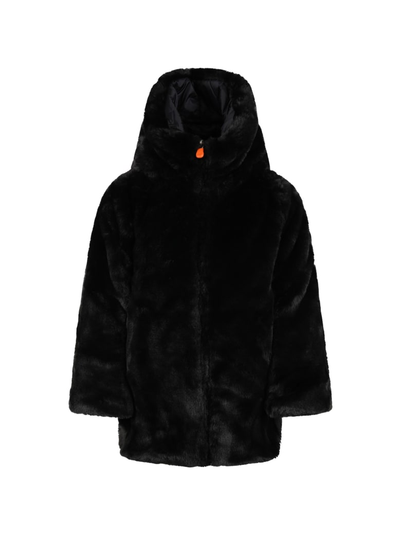 Save the Duck Black Faux Fur For Girl With Iconic Logo - Black