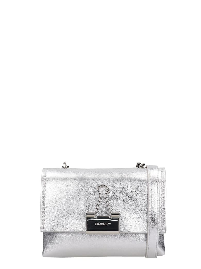 Off-White Shoulder Bag In Silver Leather - Argento