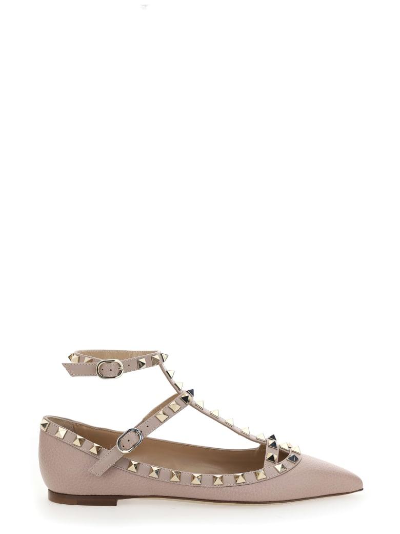 Valentino Garavani Rockstud Point-toe Ballerina Flats - Poudre