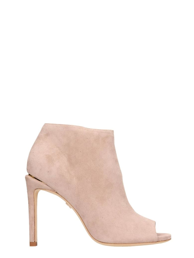Lola Cruz Open Toe Pink Suede Ankle Boots - powder