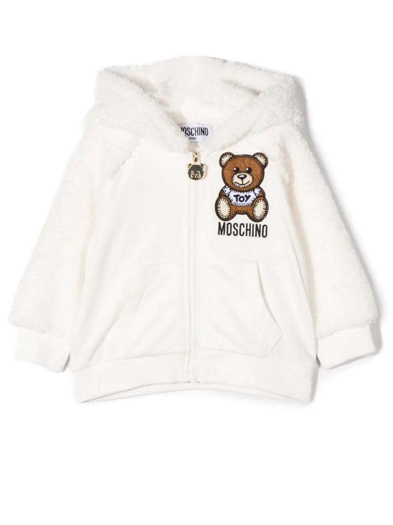 Moschino White Cotton-blend Hoodie - Bianco