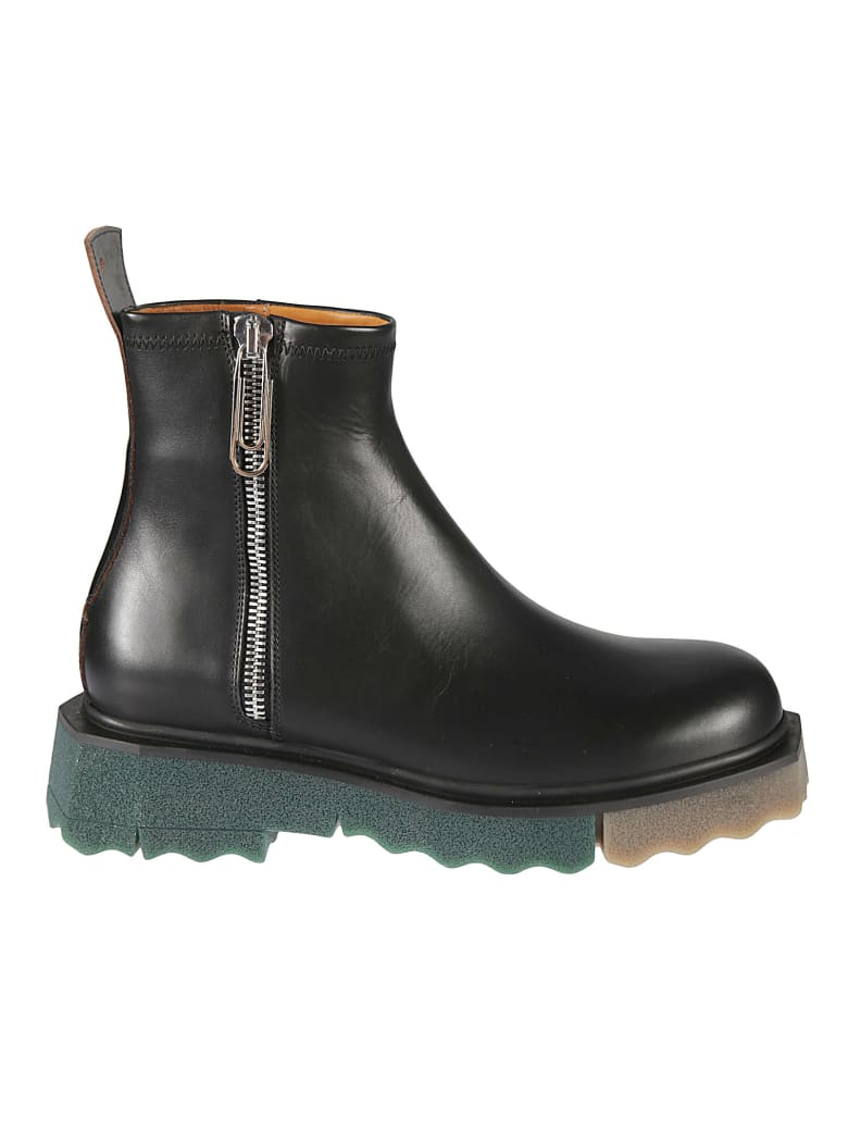 Off-White Sponge Sole Leather Zip Boots - Nero
