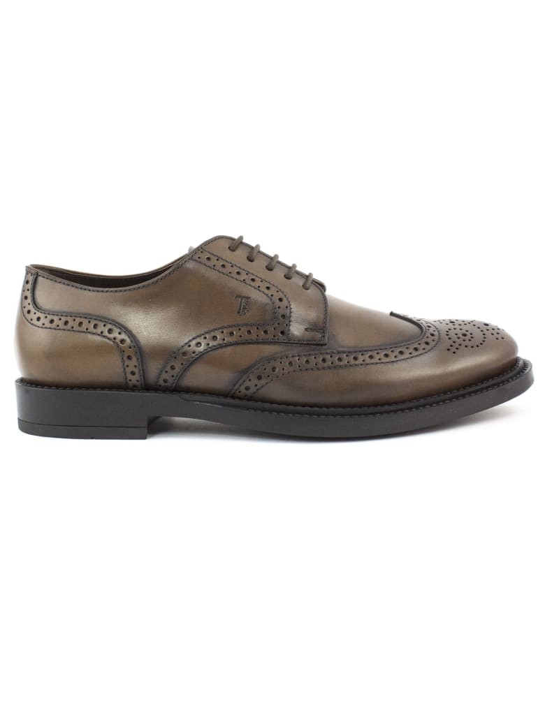 Tod's Lace Ups In Brown Leather - Bruciato