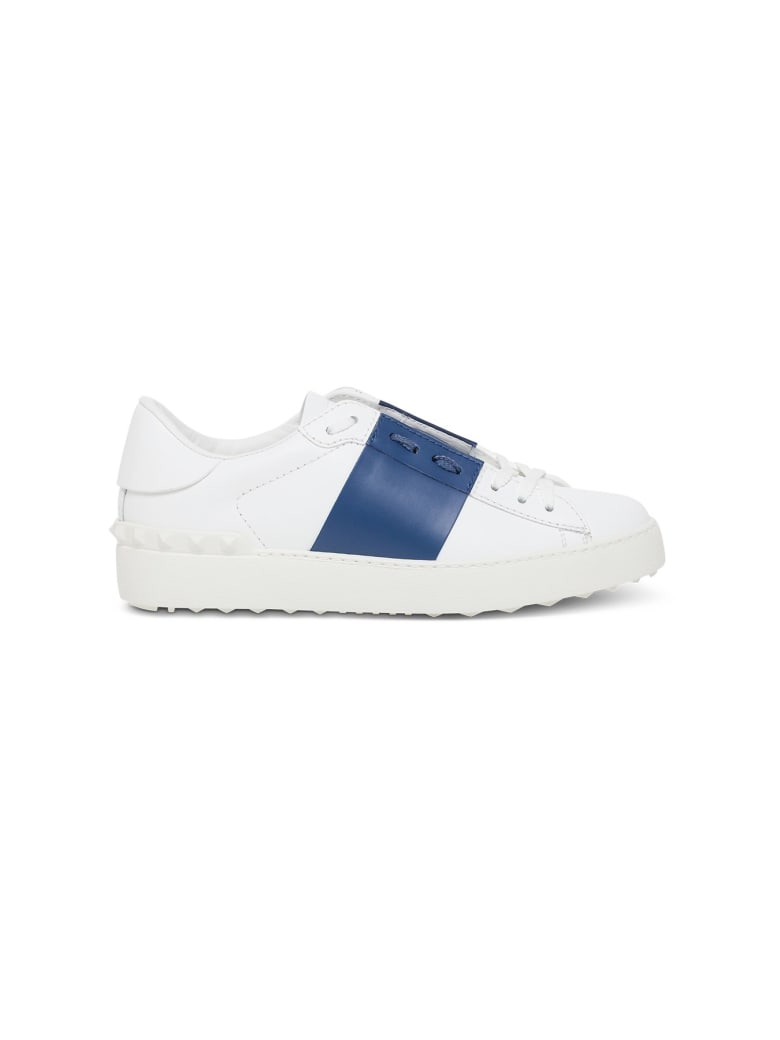 Valentino Garavani Open Sneakers In White Leather - Blu