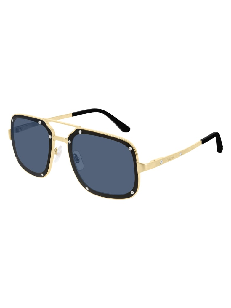 Cartier Eyewear CT0194S Sunglasses - Gold Gold Light Blue