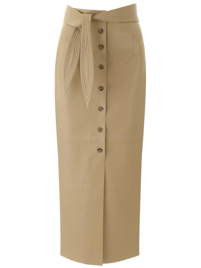 Nanushka Faux Leather Arfen Skirt - WAX YELLOW (Beige)