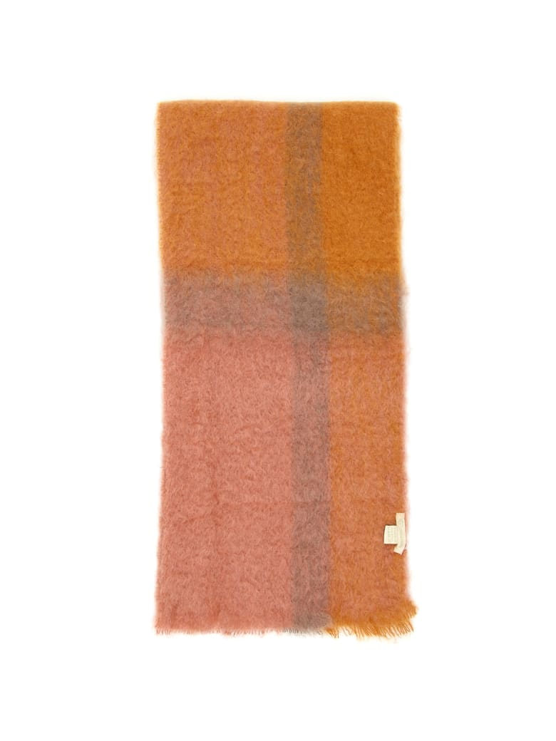 Lovat & Green Faded Check Scarf - POUDRE (Pink)