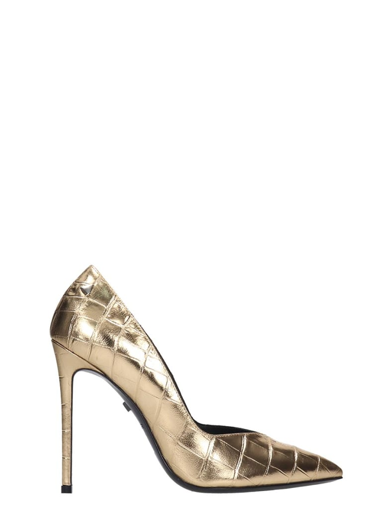 Grey Mer Pumps In Gold Leather - gold