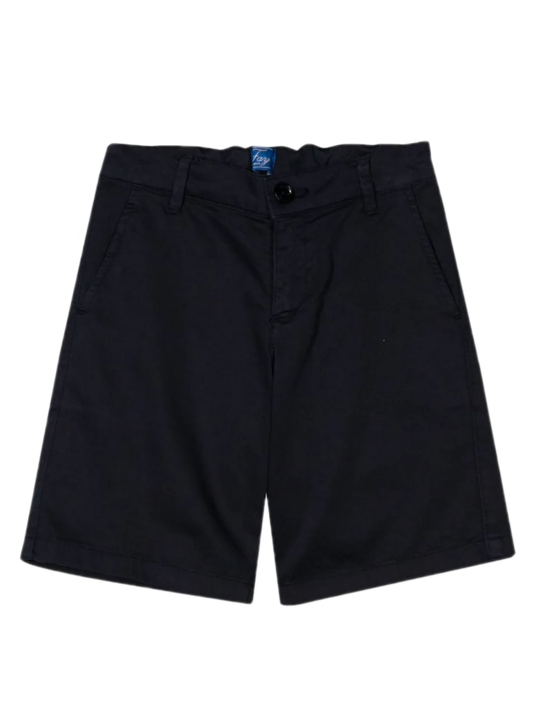 Fay Black Stretch Cotton Shorts - Blu