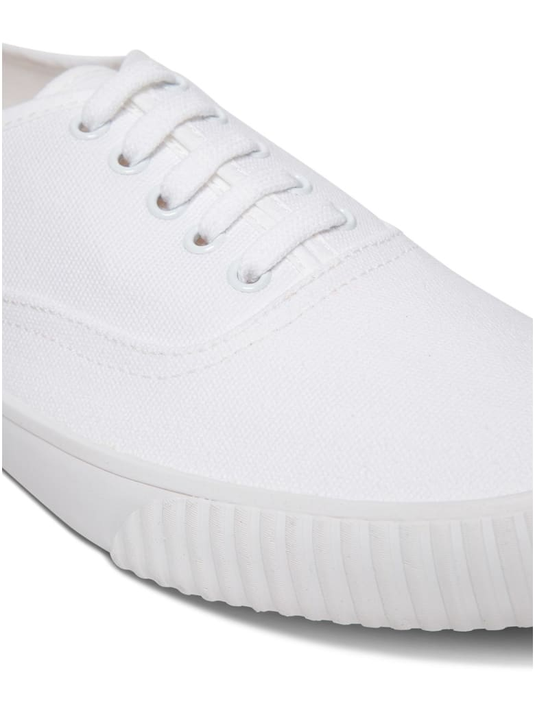 Thom Browne White Cotton Canvas Heritage Sneakers - White