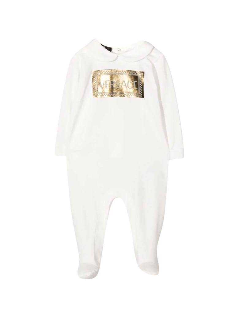 Young Versace Newborn White Onesie - Bianco/oro