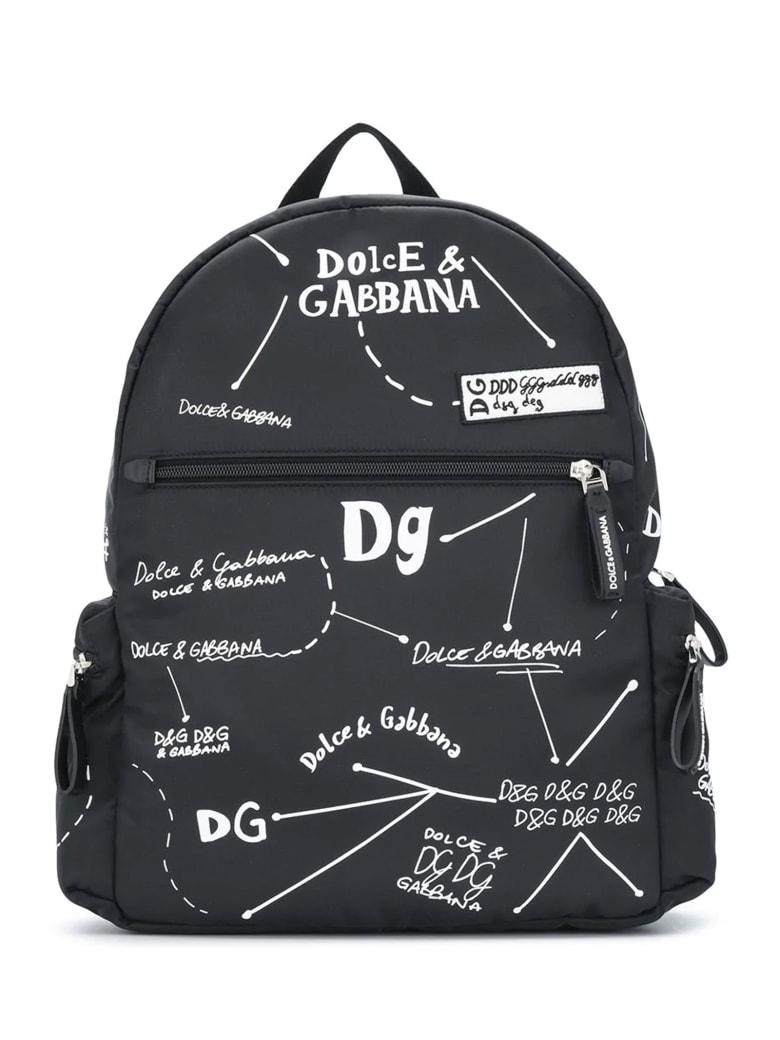 Dolce & Gabbana Black Backpack With White Print Dolce&gabbana Kids - Nero