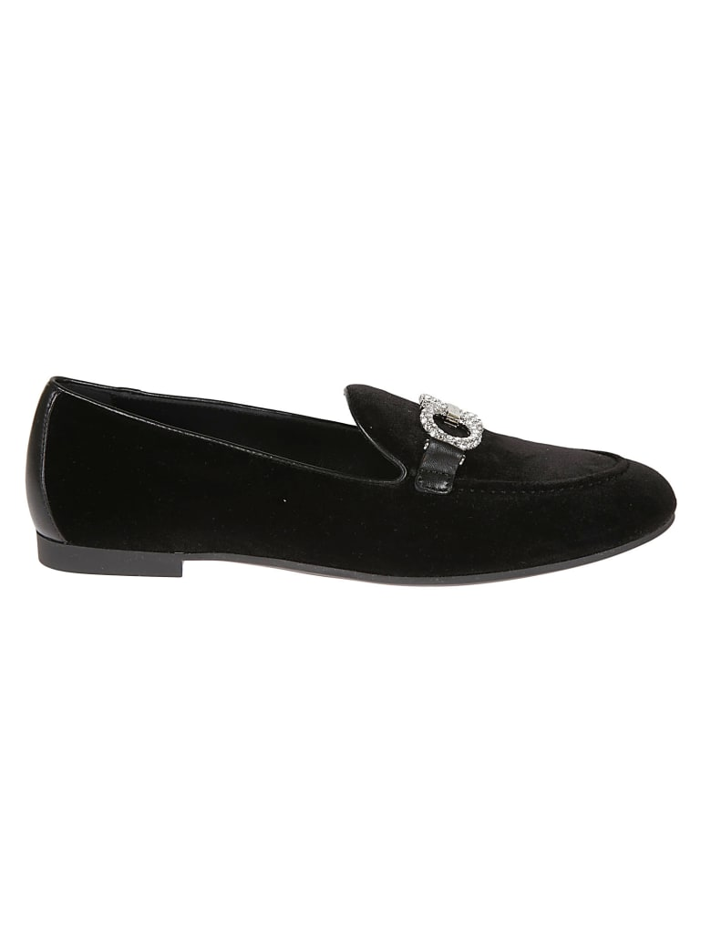 Salvatore Ferragamo Embellished Logo Loafers - Black