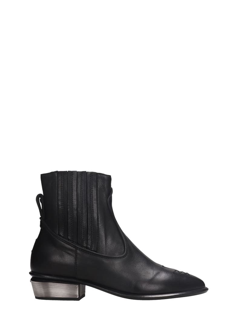 Kate Cate Cowboy Kate Low Heels Ankle Boots In Black Leather - black