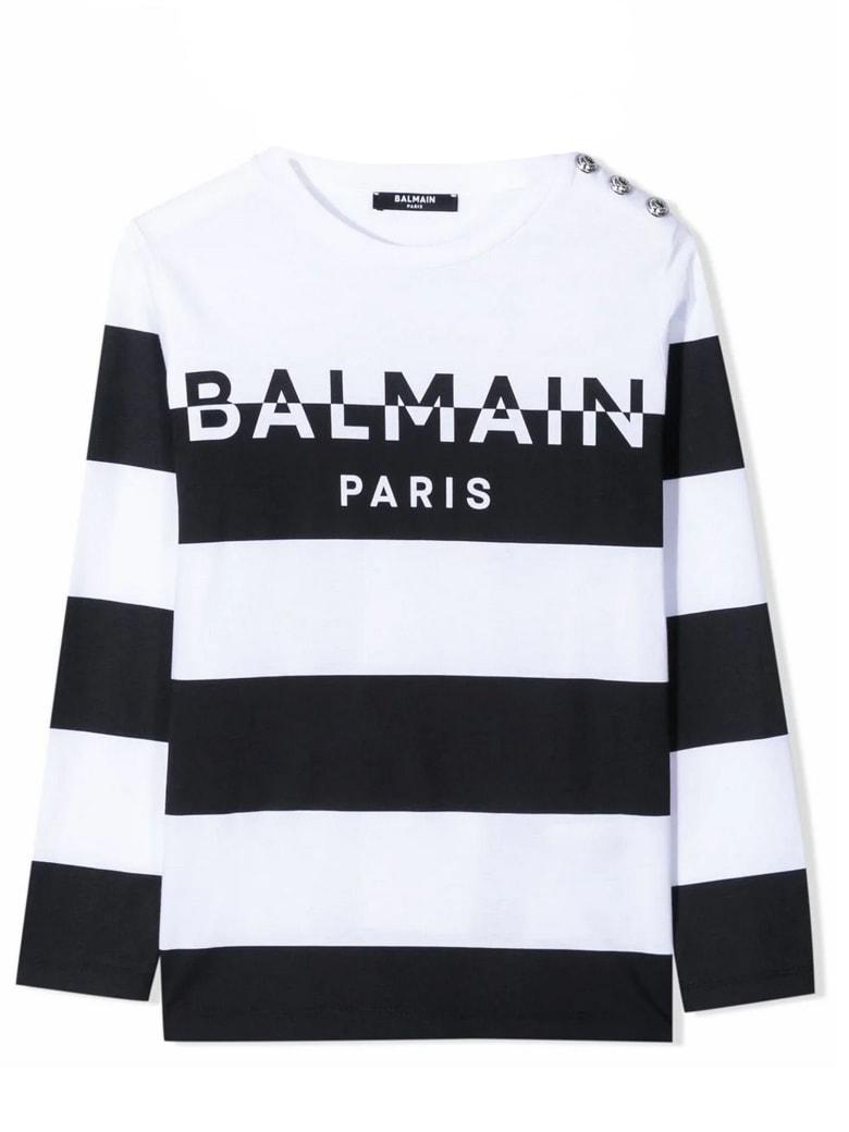 Balmain White And Black Cotton T-shirt - Bianco+nero