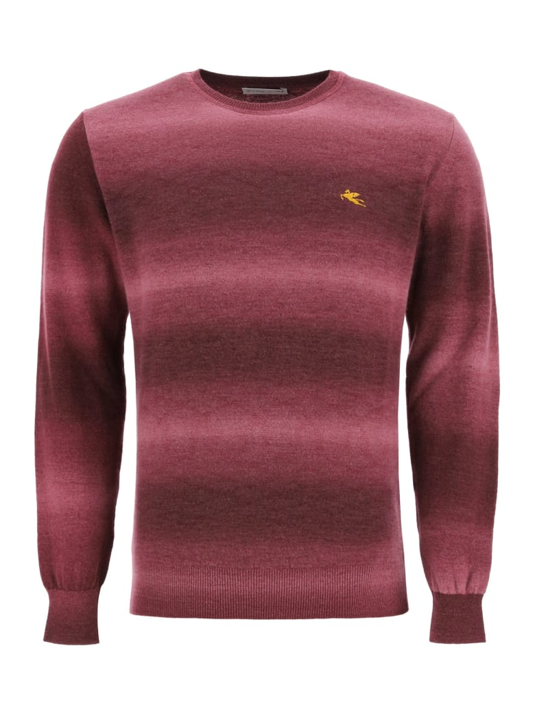 Etro Shaded Sweater With Logo Embroidery - BORDEAUX (Red)
