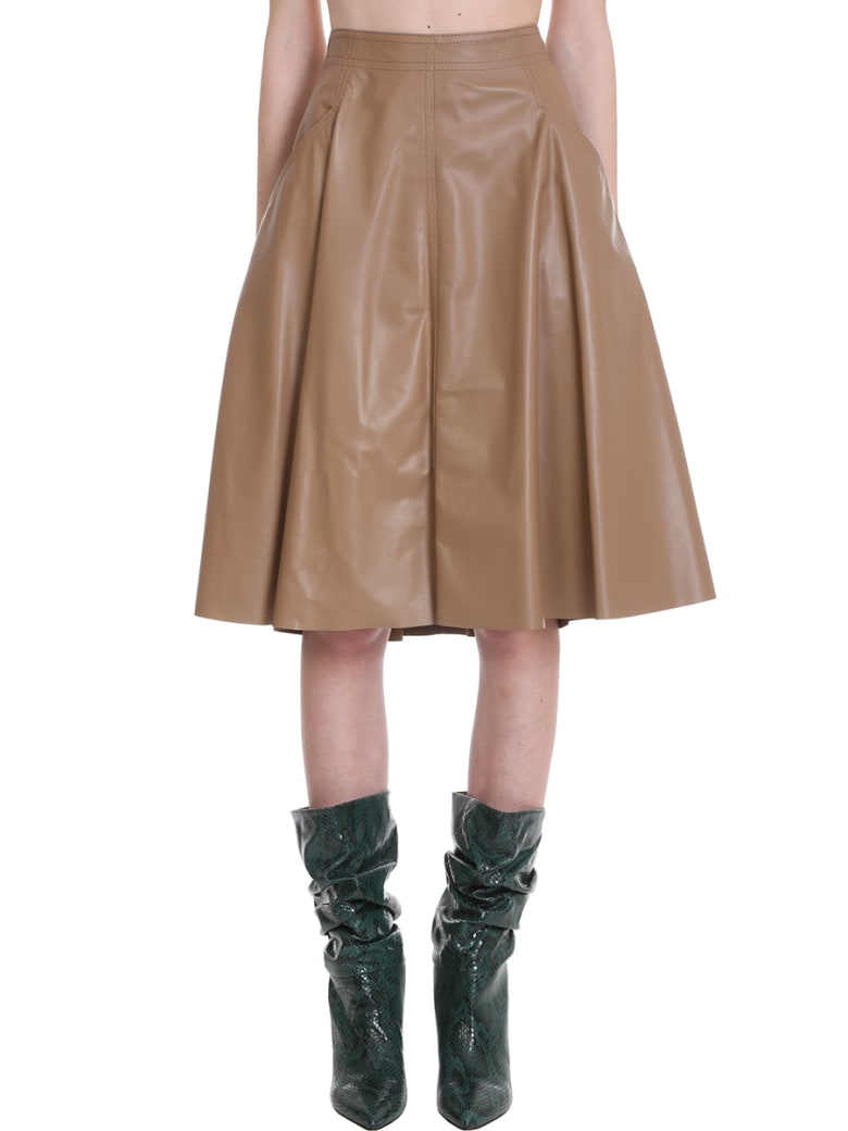DROMe Skirt In Brown Leather - brown
