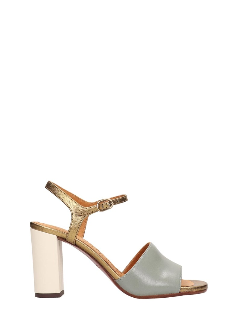 Chie Mihara Grey Gold Leather Sandals - green