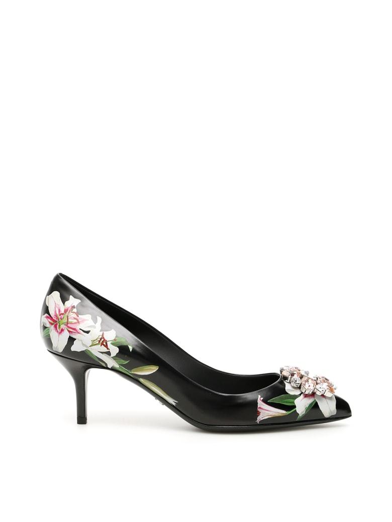 Dolce & Gabbana Lily Print Bellucci Pumps - GIGLI FDO NERO (Black)