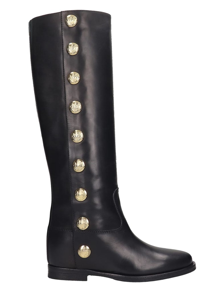 Via Roma 15 Low Heels Boots In Black Leather - black