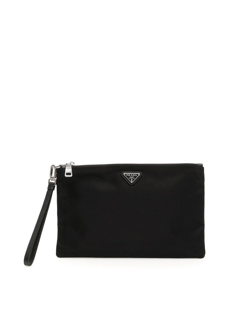 Prada Flat Pouch With Handle - NERO (Black)