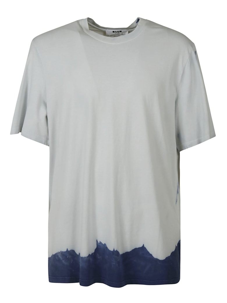 MSGM Round Neck T-shirt - Light Grey/Blue