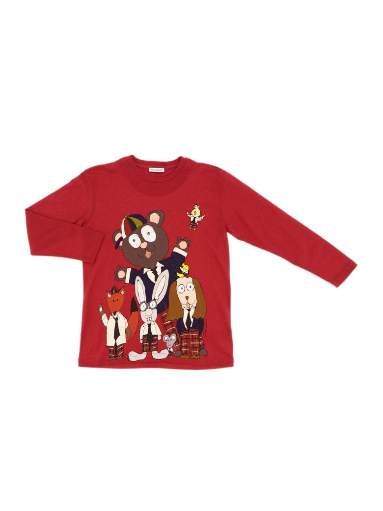 Dolce & Gabbana T-shirt Manica Corta Bks Fondo Rosso - Rosso